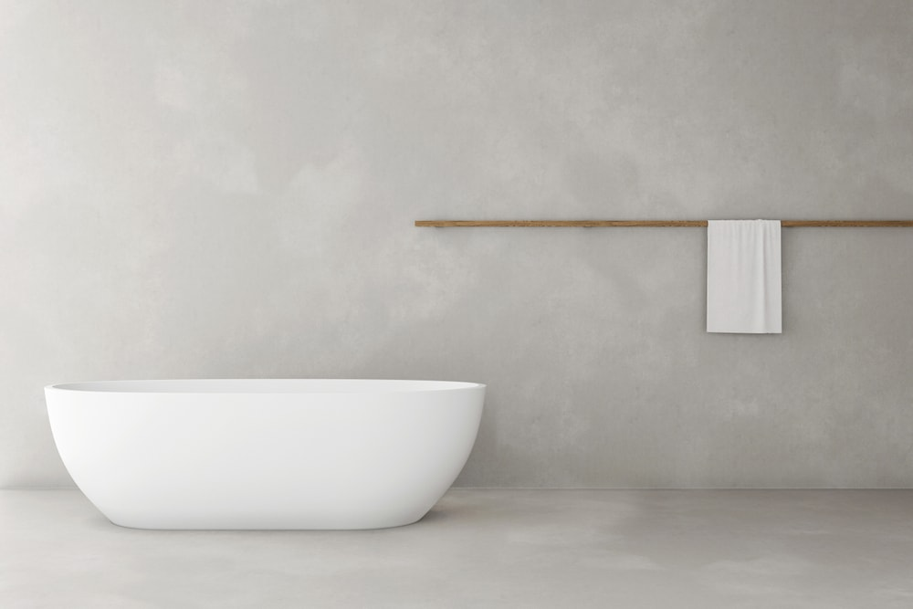 Photo sol de salle de bain en béton ciré