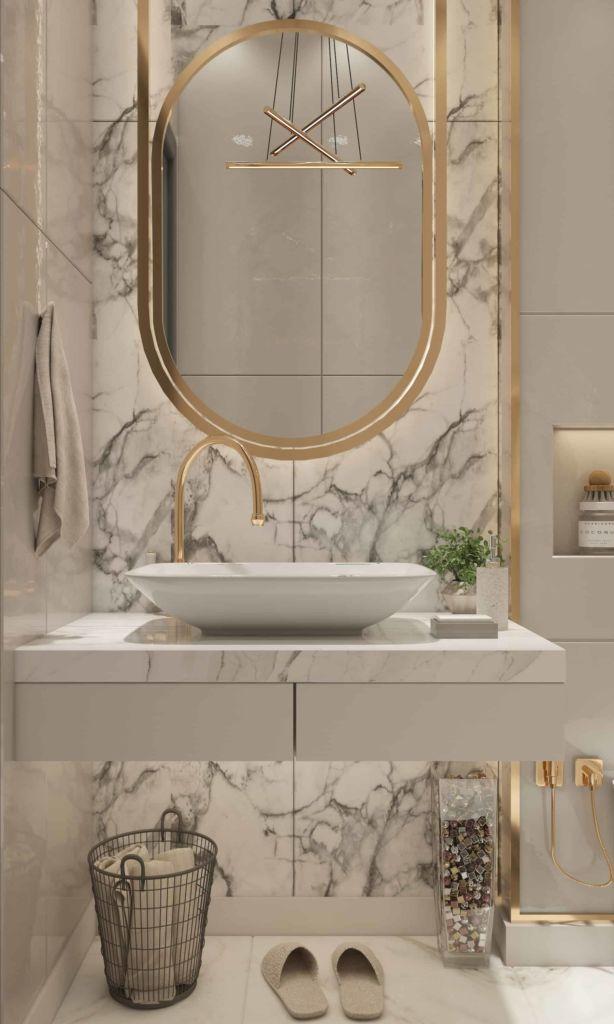 Photo d'une salle de bain élégante